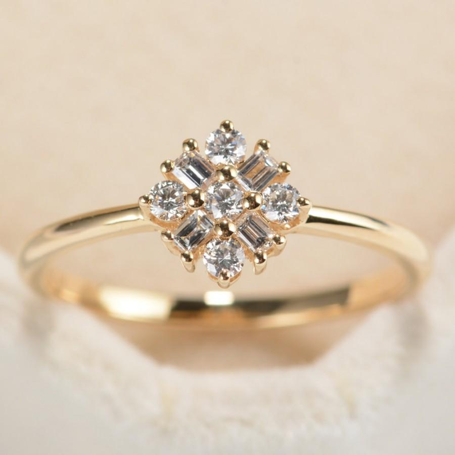 Snowflake Diamond Ring In 14k Rose Goldunique Daimond Engagement Ringflower Wedding Ringstatement Ringspromise Ringvalentine's Day Gift: Rose Gold Diamonds Rings Wedding Day At Reisefeber.org