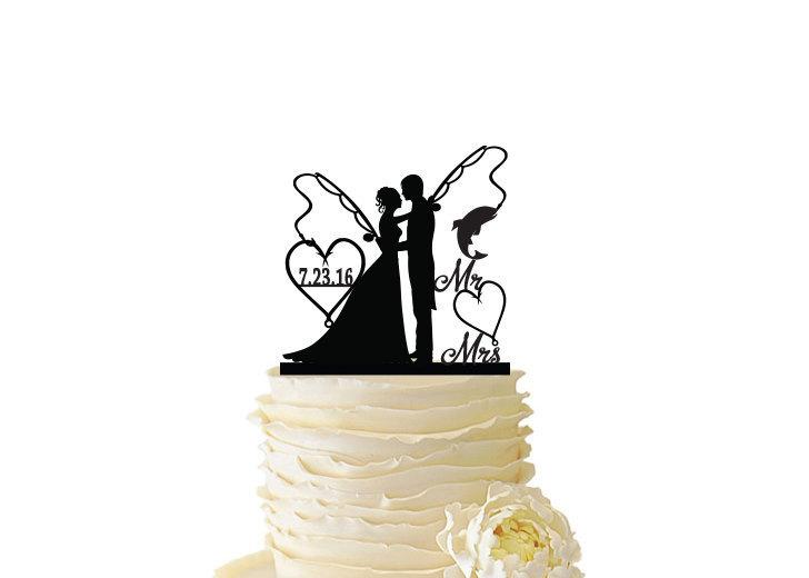 Свадьба - Mr. and Mrs. with Bride and Groom and Fishing Poles  - Standard Acrylic - Wedding - Anniversary - Fishing Cake Topper - 102