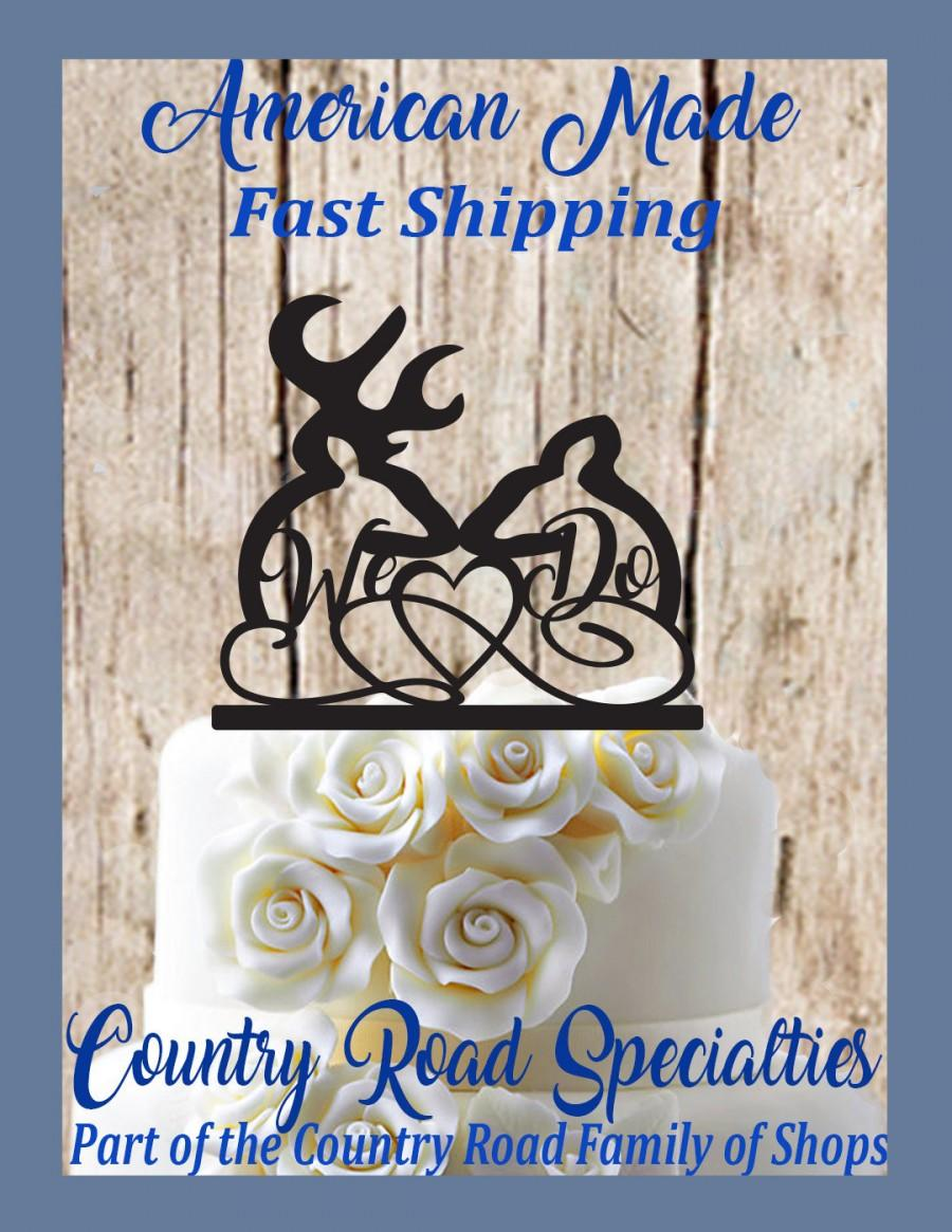 Mariage - We Do Buck and Doe Deer With Heart Wedding Cake Topper, MADE In USA…..Ships from USA