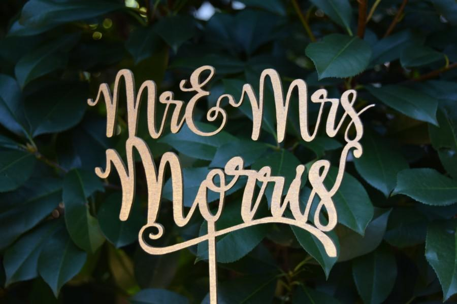 Mariage - Personalized MR&MRS Wedding Cake Topper, Wedding Cake Decor, Surname Topper - Rose gold Glitter - Wedding Gift, Valentine Day Cake Topper