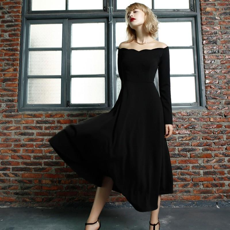 Свадьба - Retro wave in autumn and winter is a necked dresses high waist and put on an elegant Hepburn maxiskirt 9457 - Bonny YZOZO Boutique Store