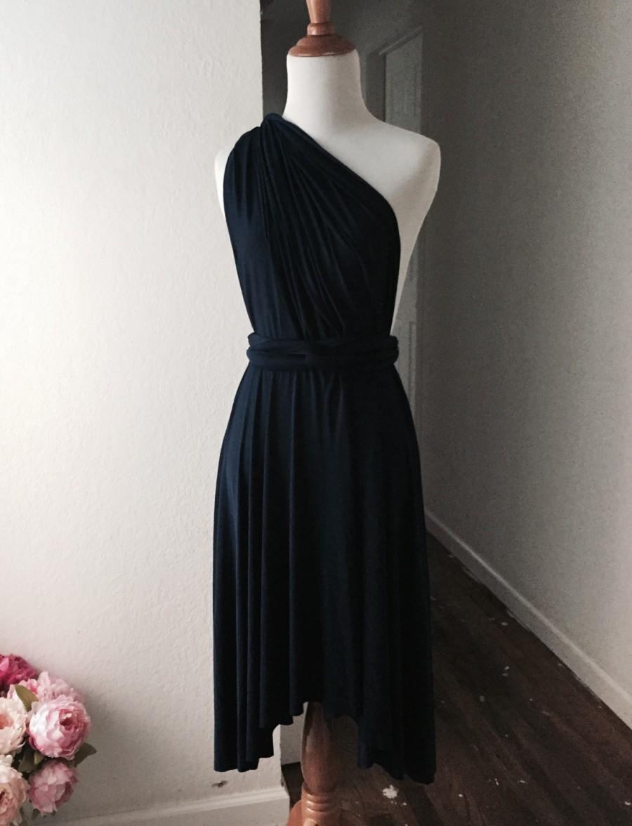 Wedding - Black  Bridesmaid Dress , Infinity Dress,Knee Length Wrap Convertible Dress.Party dress-A19#