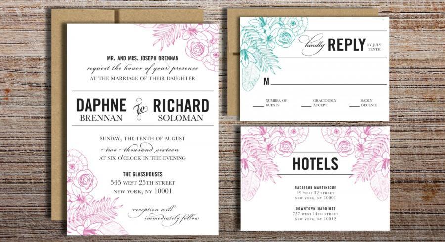 زفاف - Hand Drawn Flowers, Modern Type Wedding Invitation Suite - Printable Wedding Invitation Suite, DIY Wedding Invitation