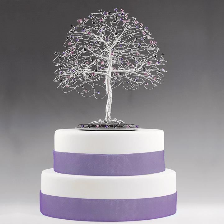Mariage - CUSTOM Tree Cake Topper or Centerpiece (No Figurine) for Wedding Cake Topper - Swarovski Crystal Elements Silver Copper Gold
