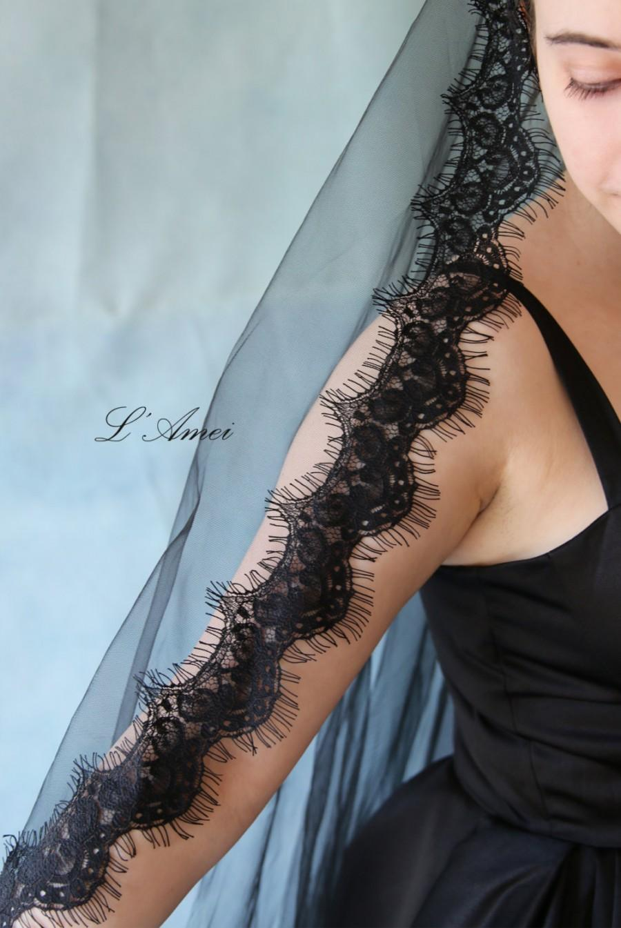 Hochzeit - Fingertip Length Black Soft Lace Cathedral Mantilla Bridal Wedding Veil