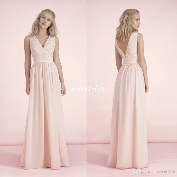 Wedding - Elegant Blush Pink Long Bridesmaid Dress