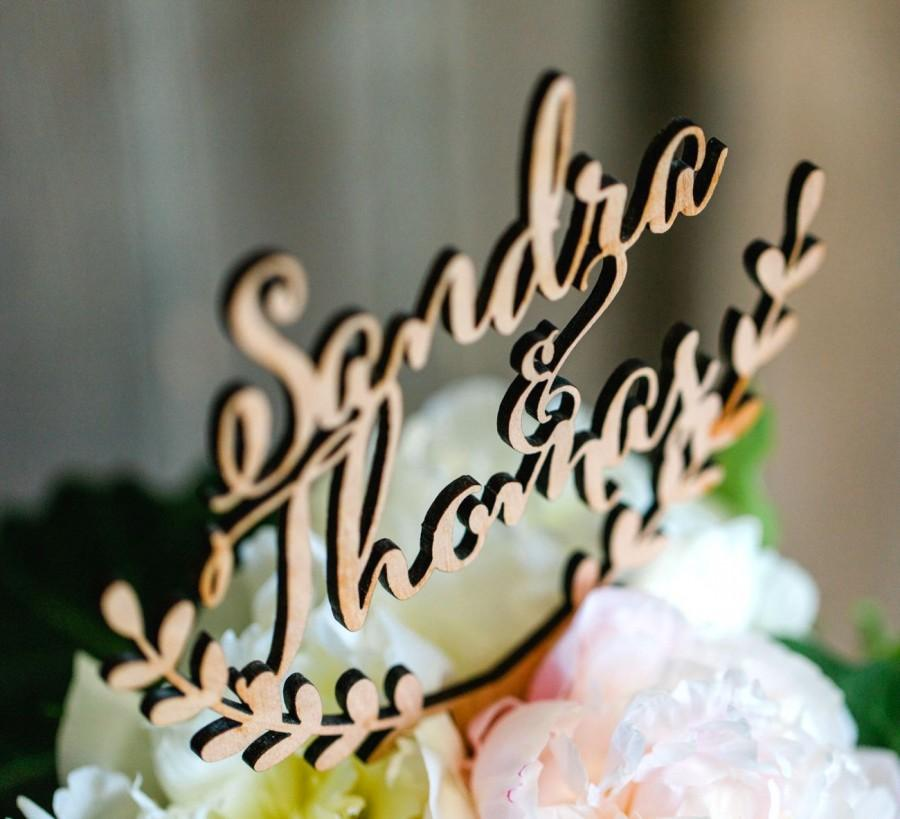 Свадьба - Personalized cake topper, wedding cake topper, wooden cake topper, rustic wedding cake topper, names cake topper, custom cake topper