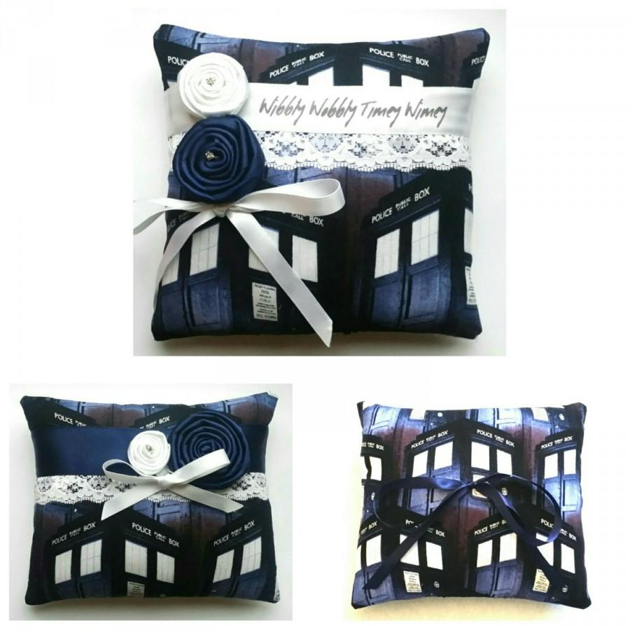 Dr Who Tardis Wedding Ring Pillow 3 Designs Available 6x6 Inch