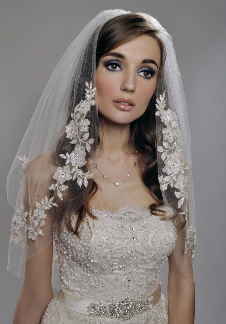 Mariage - Wedding Veil - Two Tier Veil with Gorgeous FRENCH Lace Appliques Adorned with Swarovski Crystals, Embroidery, and Sequins