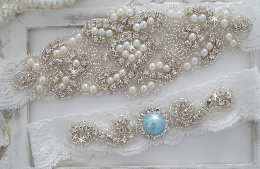 Свадьба - Wedding Garter Set, Bridal Garter Set, Vintage Wedding, Lace Garter, Crystal Garter Set, Pearl Garter-Style 200