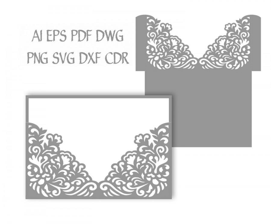 5x7 wedding invitation pocket envelope svg template quinceanera