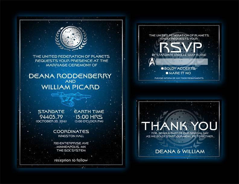 Star Wedding Invitations: Personalized Star Trek Inspired Wedding