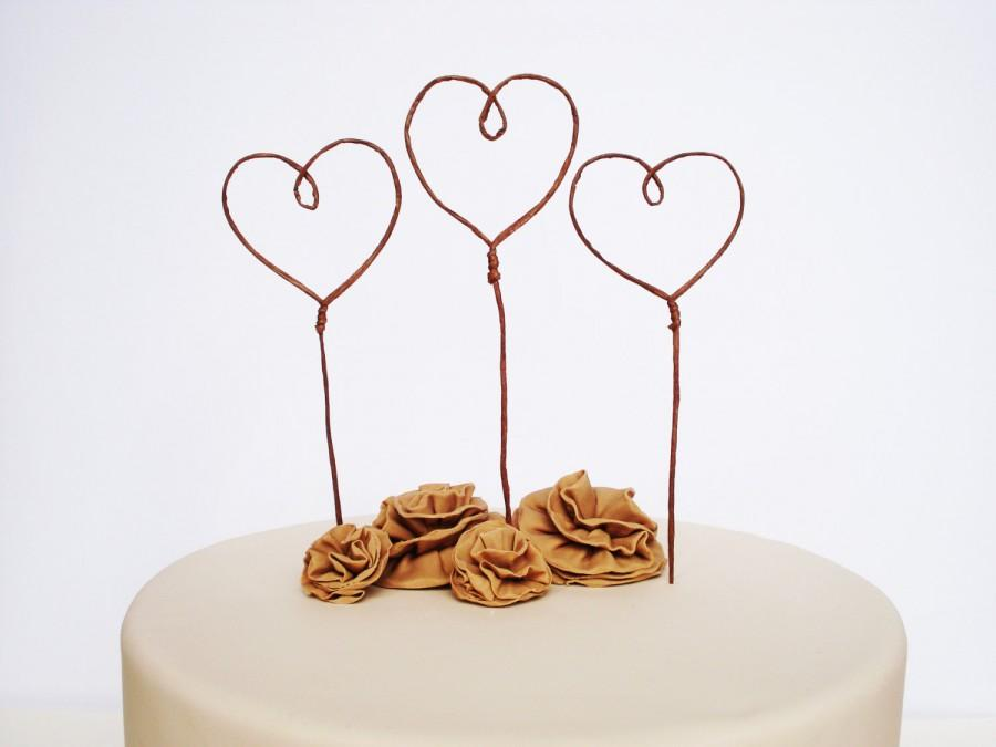 Hochzeit - Heart Cake Toppers for Wedding, Love Cake Topper, Romantic Wedding Cake Topper, Cake Decor, Rustic Cake Topper, Wedding Favor, Cake Banner
