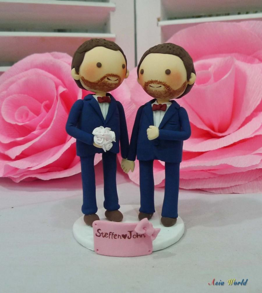 Свадьба - Gay Wedding Cake topper clay doll in Navy blue suit , Same sex same beard Clay Couple, clay figurine decoration, rings holder clay miniature