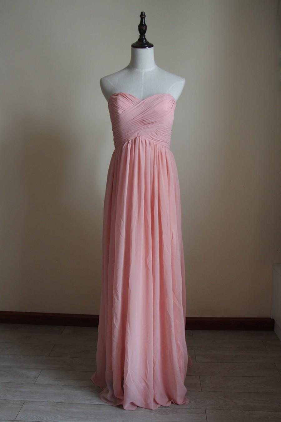 Mariage - Pink Sweetheart Bridesmaid Dress Floor Length Chiffon Pink Strapless Bridesmaid Dress-Custom Dress