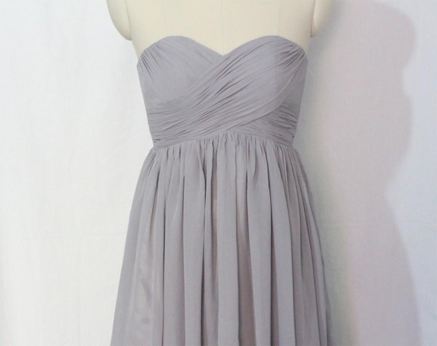 Mariage - Gray Bridesmaid Dress Short/Floor Length Grey Chiffon Strapless Dress Sweetheart Bridesmaid Dress-Custom Dress