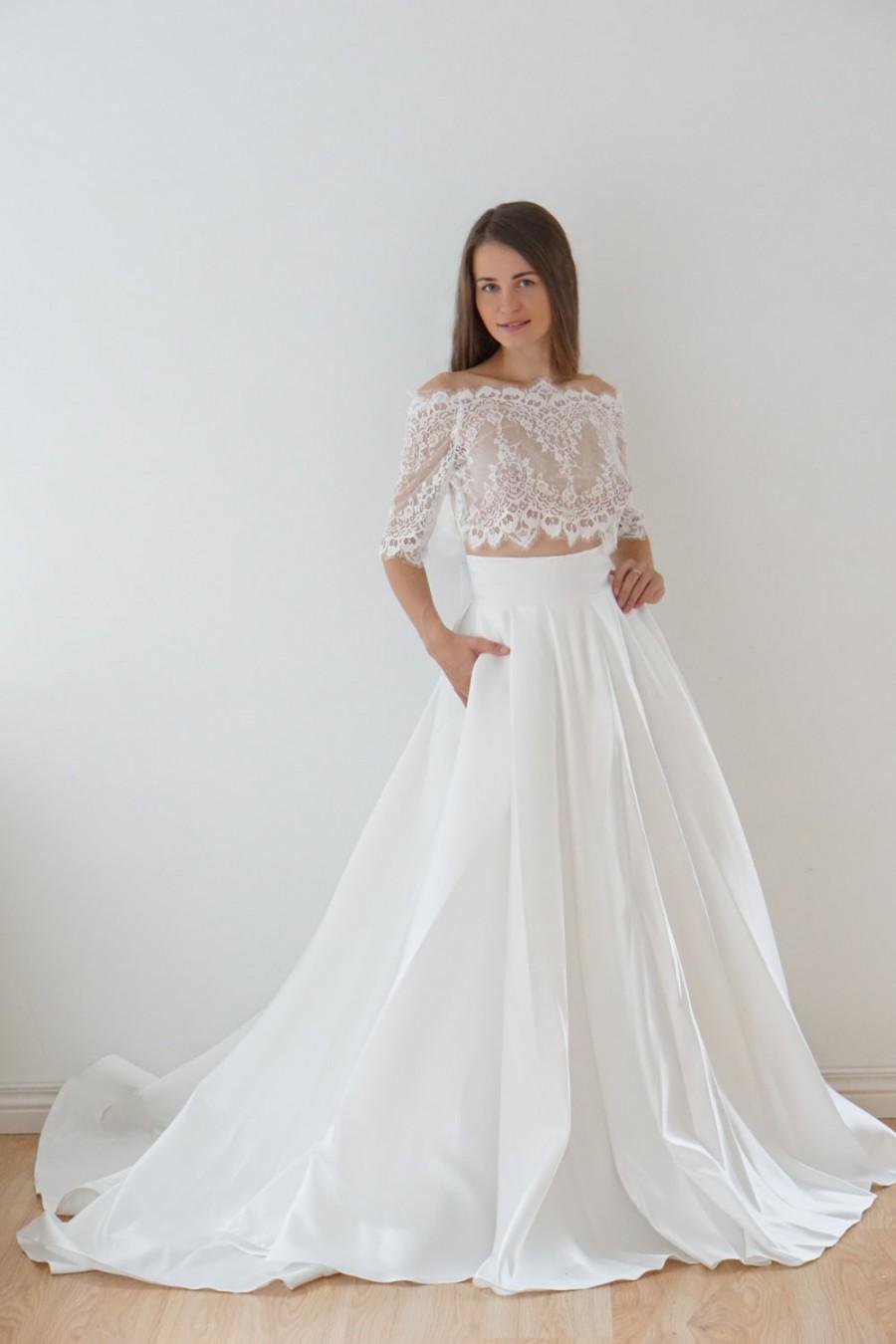 Crop Top Wedding Dress Satin Lace Bolero With Pocket Tail