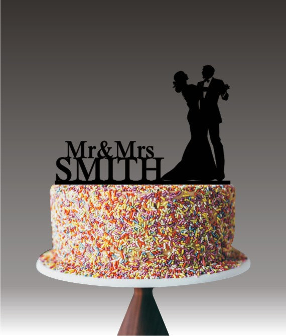 Свадьба - Wedding Couple Cake Topper for Wedding, Mr and Mrs Cake Topper Personalized with Last Name, Dancing Couple Cake Topper, Cake Decor YTD1024