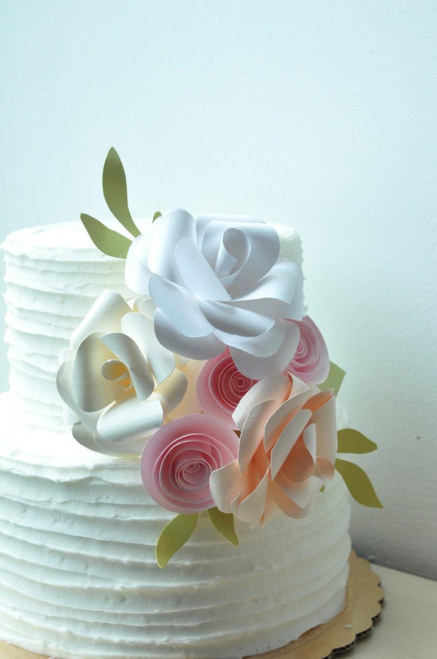 Wedding - Cake topper, paper flower cake topper, Wedding Cake topper, Wedding cake flowers