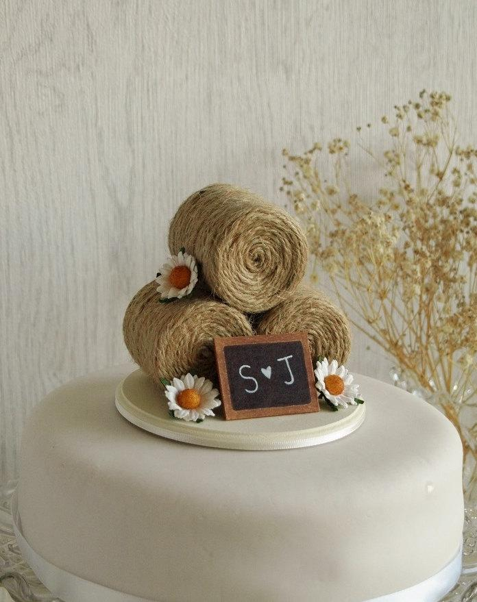 Rustic Wedding Cake Topper Hay Bale With Daisies Barn Farm Summer