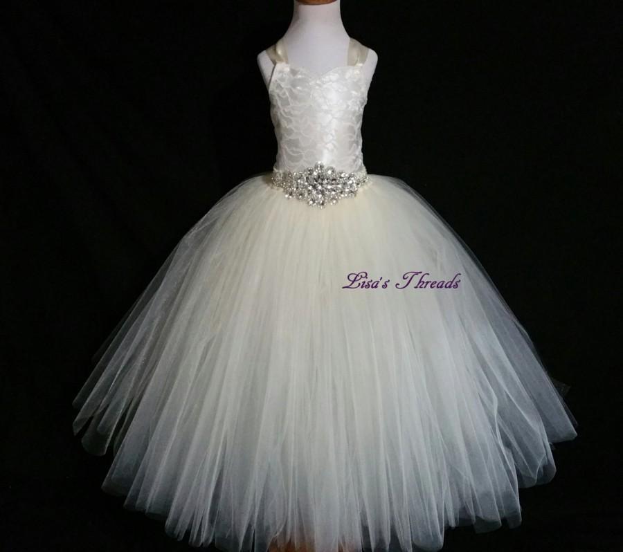 Hochzeit - Ivory lace corset & rhinestones belt flower girl dress/ Junior bridesmaids dress/ Wedding flower girl