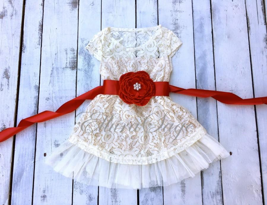 Hochzeit - Red flower girl dress, Red lace Dress, Girls Christmas dress, Christmas dress, Ivory lace dress, rustic flower girl dress, flower girl dress