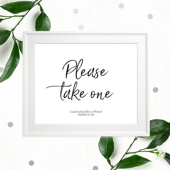 image regarding Please Take One Sign Printable identified as Be sure to Consider Just one Exquisite Hand Lettered Printable Indication