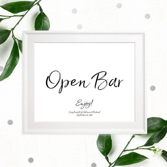 زفاف - Open Bar Stylish Hand Lettered Printable Sign-Calligraphy Open Bar Wedding Sign-DIY Handwritten Style Wedding Reception Drinks Sign-Bar Sign