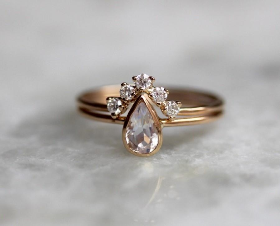 14k Moonstone Pear Engagement Ring Set Bridal Diamond Chevron Band Dainty Tear Drop Alternative