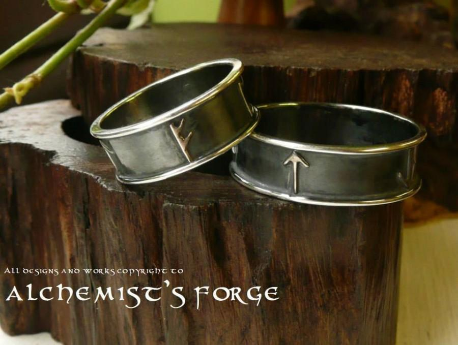 sterling silver runic hand fasting viking rings wedding rings wedding bride groom wedding runes celtic norse personal - Norse Wedding Rings
