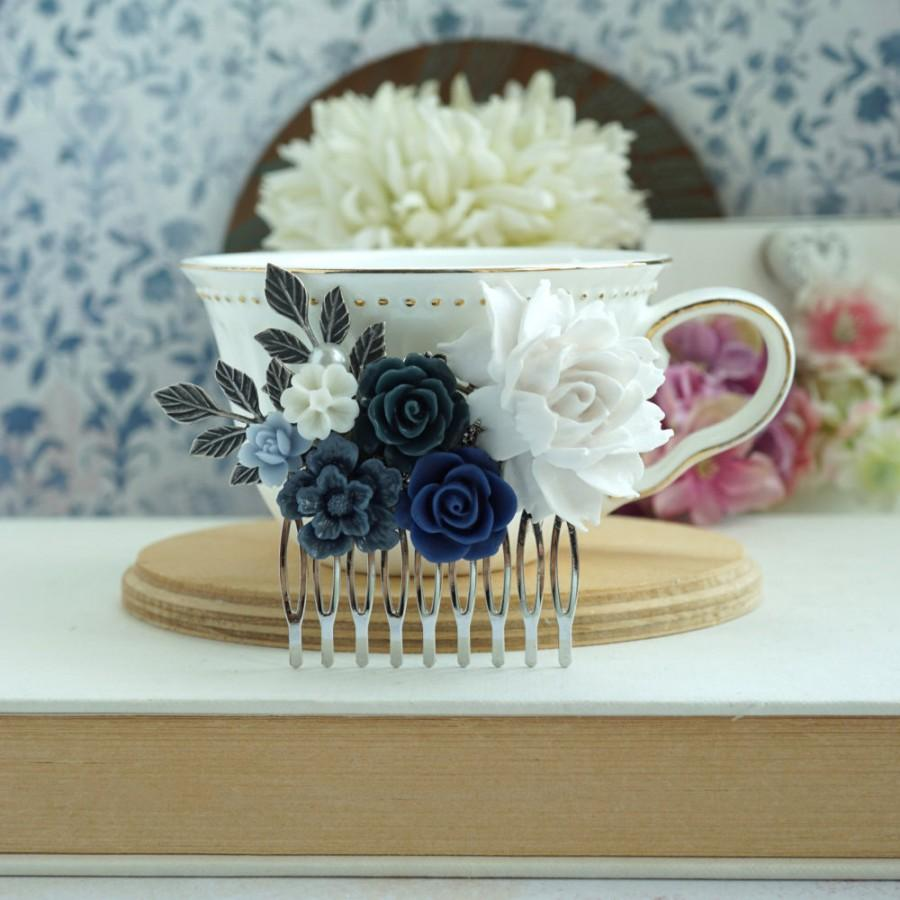 28 something blue wedding hair flowers bridal bridesmaid gift something blue wedding hair flowers bridal bridesmaid gift blue white wedding silver comb navy and white izmirmasajfo