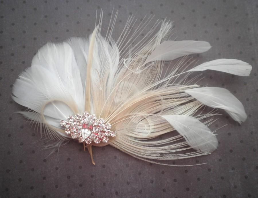 Свадьба - White, Ivory, weddings, facinator, Bridal, Hair, Accessories, Feather, Piece, Fascinator, Peacock, Bride, brides - WHITE PRINCESS