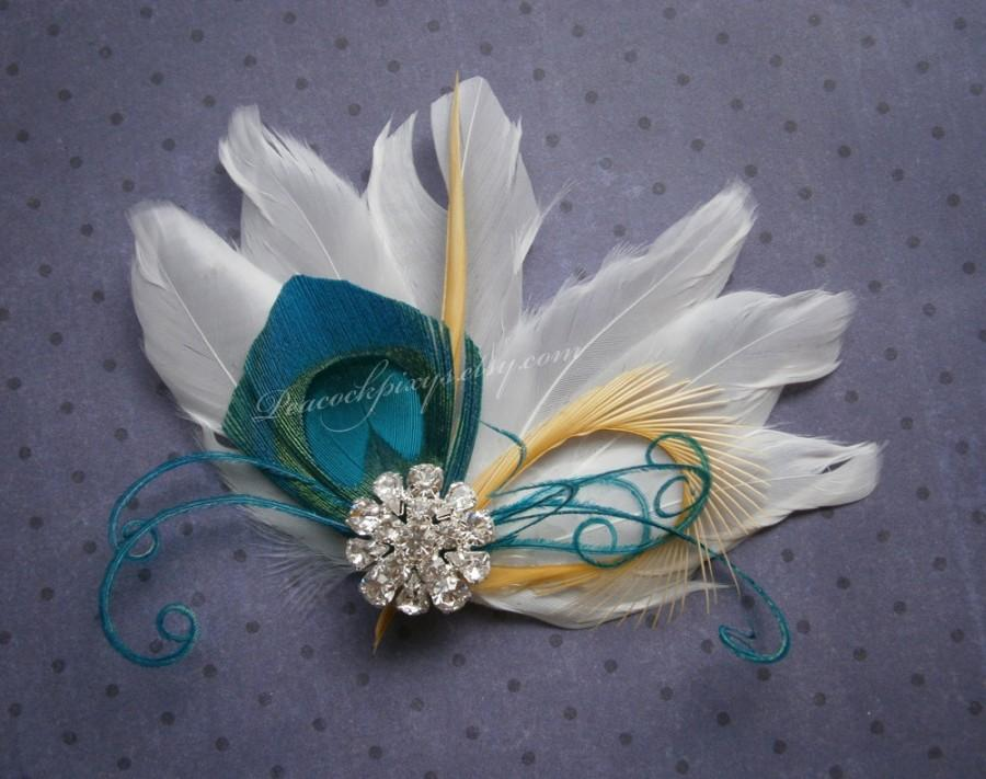 Свадьба - Bridal Peacock Facinator, Feather Hair PIece, Wedding Hair Accessory, peacock feather hair clip, Turquoise Peacock feather - WHITE OASIS