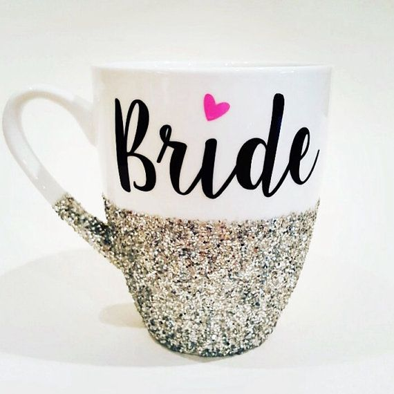 Wedding - BRIDE With Pink Heart - Hand Glittered Coffee Mug - Your Wedding Date On Back - Available In Silver Or Gold Glitter - Made To Order