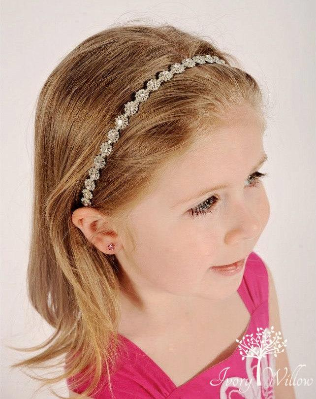 Mariage - Rhinestone Flower Girl Headpiece - Wedding Headband - Flower Girl Headpiece - Bridesmaid Headband - Prom Headband - Infant Photo Prop