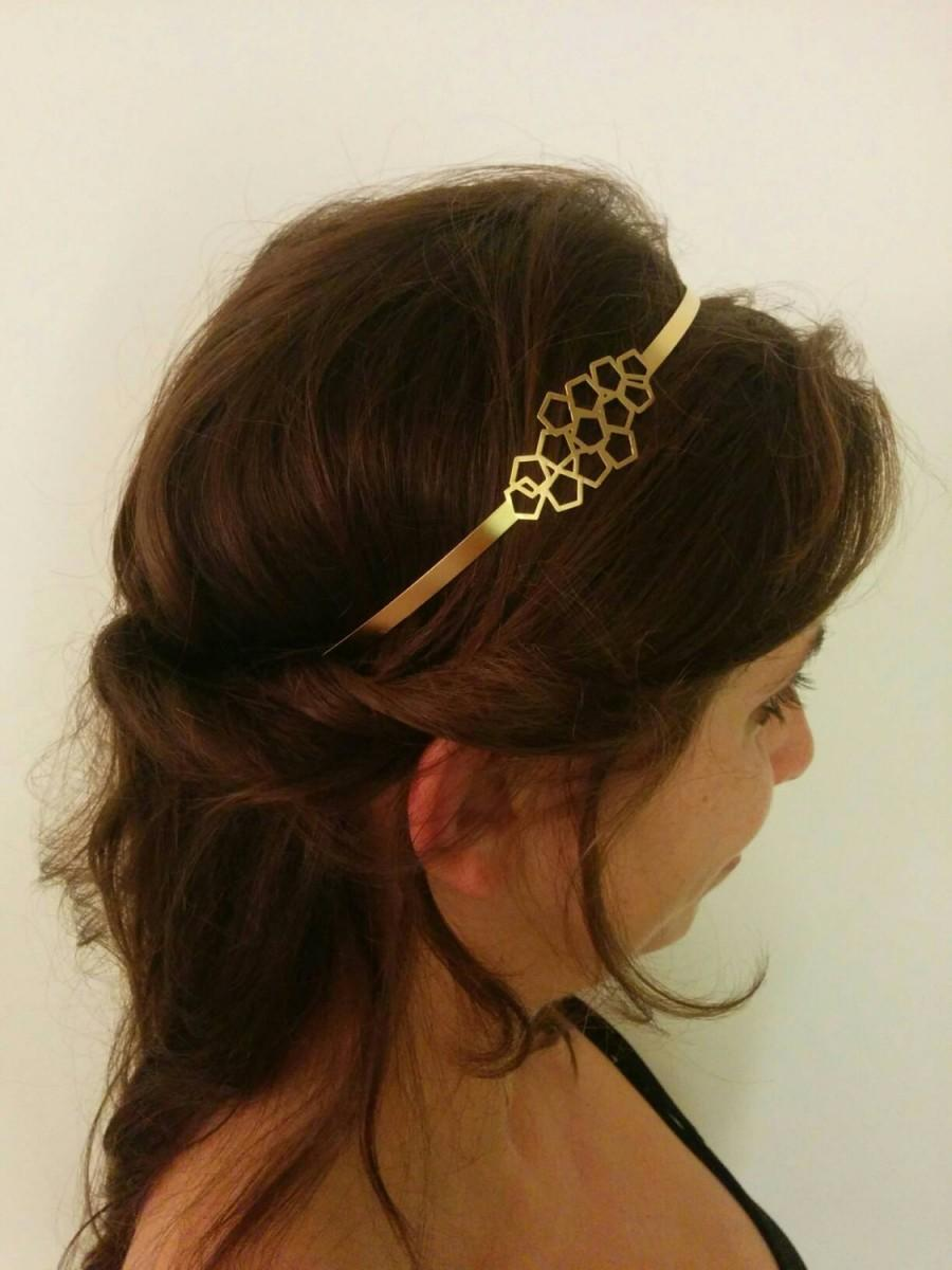 Свадьба - Bridal Headband, Bridal gold Headband, Bridal Headpiece, Geometric Headpiece, Headband, Greek Headband, Honeycomb Headband, Bridal Headband