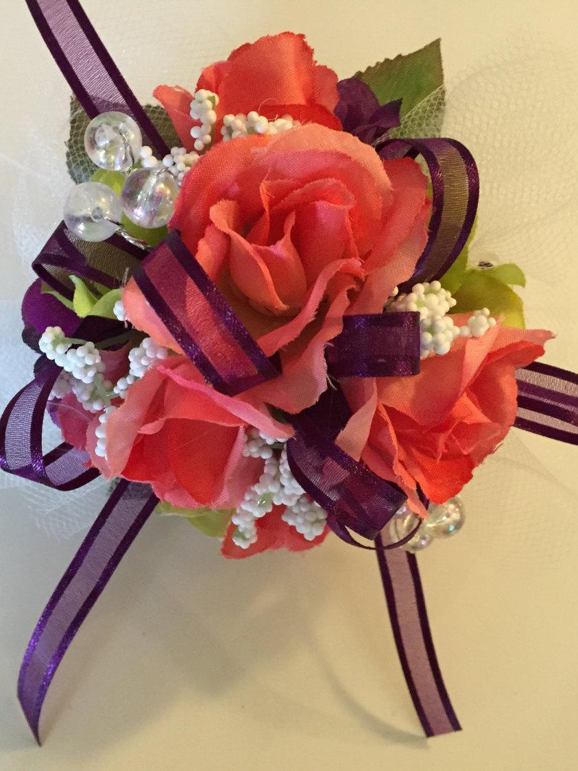 Eggplant Wrist Corsage, Coral Corsage, Eggplant Wedding, Bridal Shower, Baby  Shower Corsage, Eggplant Silk Corsage