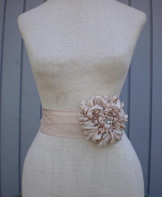 Wedding - Bridal sash, wedding sash, wedding accessories, Bridal accessories, Wedding dress sash, Handmade flower, Bridal belt, sash belt, champagne
