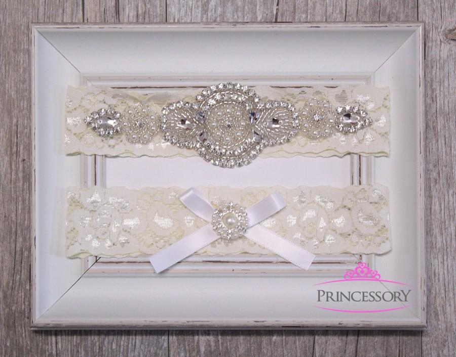 Wedding - Garter Wedding, Plus Size Garter, Lace Garter, Wedding Garter, Bridal Garter Set, Wedding Garter Set, Rhinestone Garter, toss garter WG23