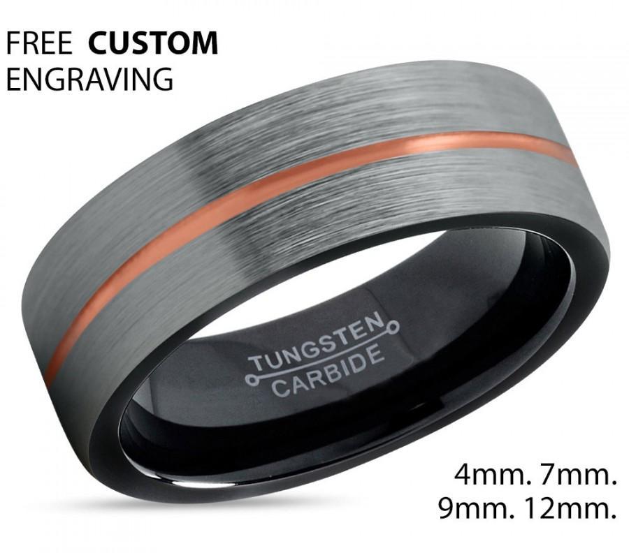 Wedding - Brushed Silver Black Tungsten Ring Rose Gold Wedding Band Ring Tungsten Carbide 7mm 18K Tungsten Ring Man Male Women Anniversary Matching