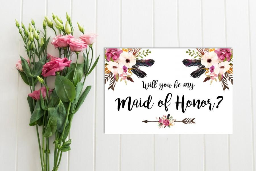 photograph regarding Will You Be My Maid of Honor Printable known as Boho Floral Will Your self Be My Maid Of Honor Card, Printable