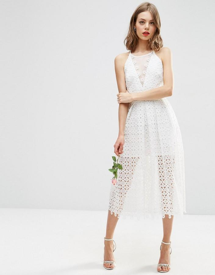 Свадьба - ASOS BRIDAL Premium Lace Midi Dress With Sheer Insert
