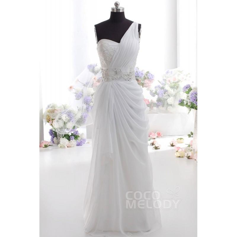 Mariage - Simple Sheath-Column One Shoulder Natural Floor Length Chiffon Sleeveless Zipper Wedding Dress with Beading pr1521 - Top Designer Wedding Online-Shop