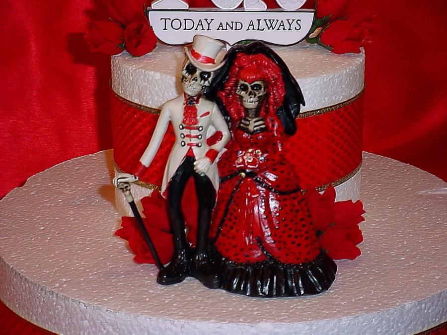 Custom Halloween Red Hot Love Never Dies Bride Groom Day Of The