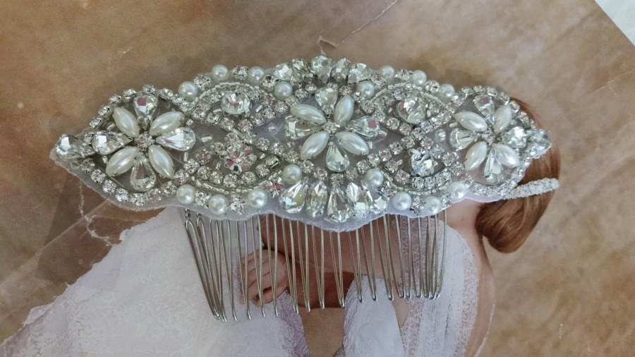 Mariage - Wedding Hair Comb - Rhinestoen & Pearl Hair Comb - Style H0778