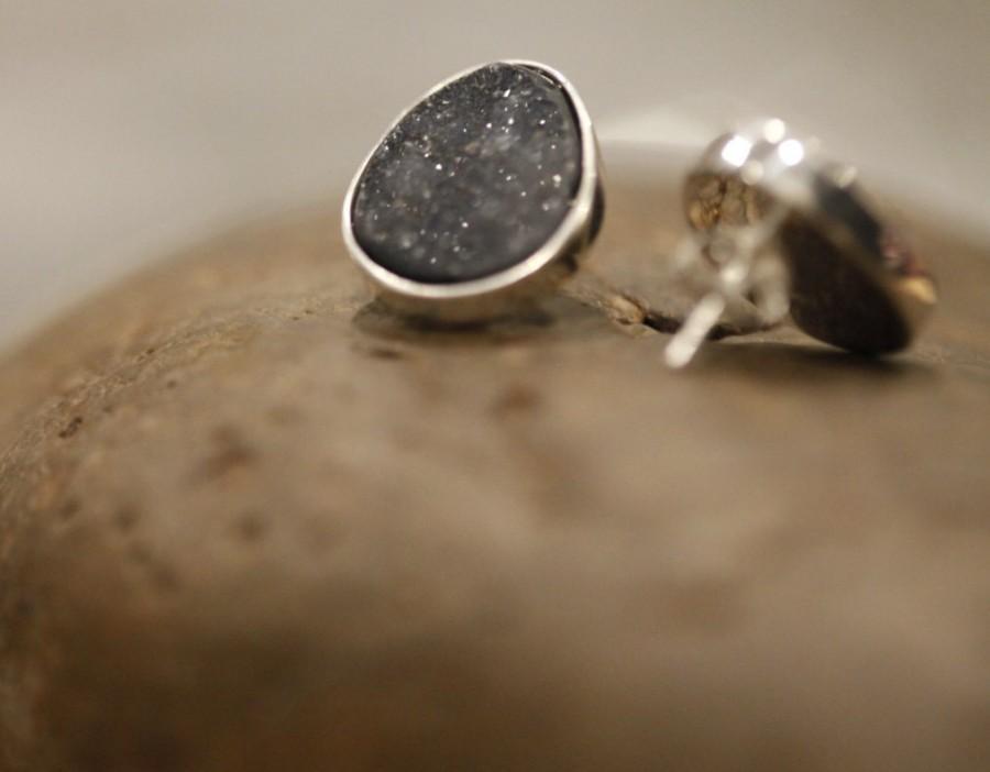 Hochzeit - Druzy earrings,Silver earrings, Druzy silver, black druzy, Druzy stud, Sterling Silver earrings, bridesmaid earrings,  Gift for love
