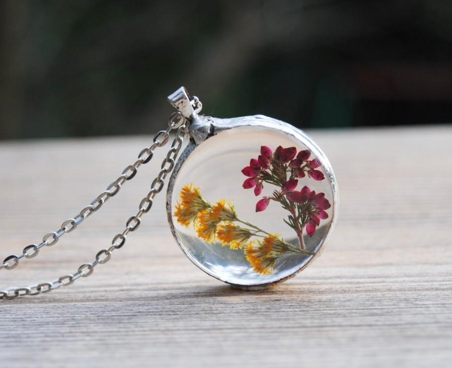 Pressed Flower Necklace Real Flower Glass Necklace Heather