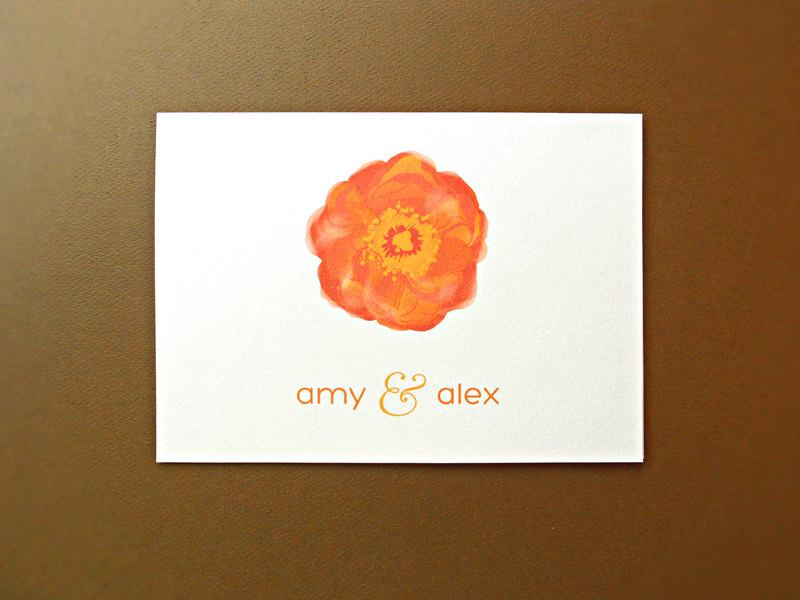 زفاف - Personalized Wedding Stationery / Wedding Thank You Cards / Thank You Cards, Orange Poppy, 25-Count
