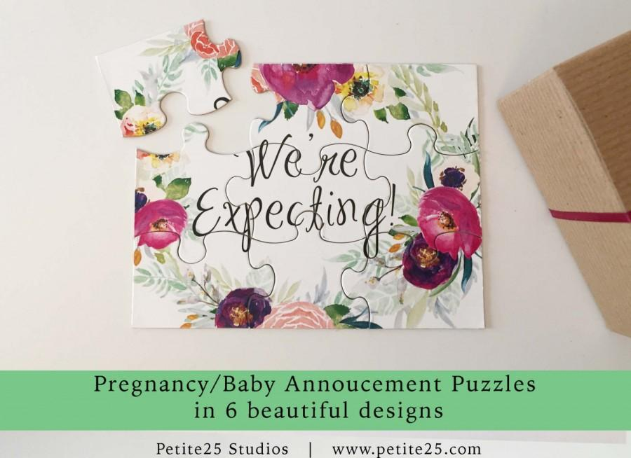Pregnancy Baby Announcement Puzzle Pink Sash Were Having A Baby – Grandparents Announcement Baby