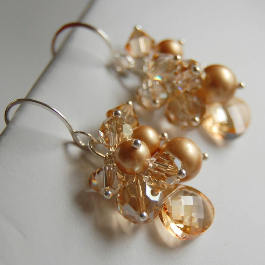 Свадьба - Champagne Bridal Earrings, Swarovski Crystal and Golden Pearl Cluster Earrings, Wire Wrapped Crystal Drop, Sterling Silver Earwires
